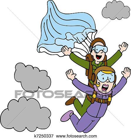 Clip art of tandem sky diving woman k7250337 search - Dessin parachutiste ...