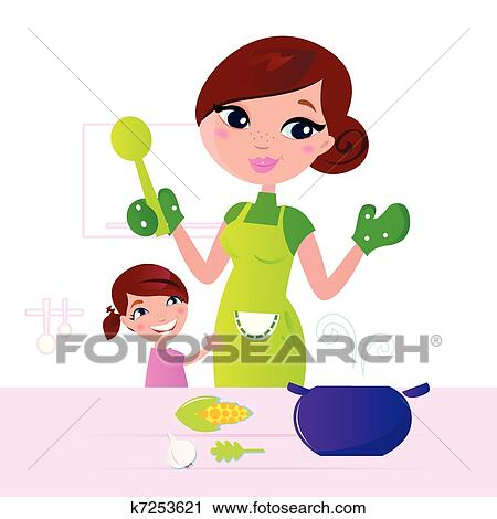 Clipart of Mother cooking healthy food with child in ...