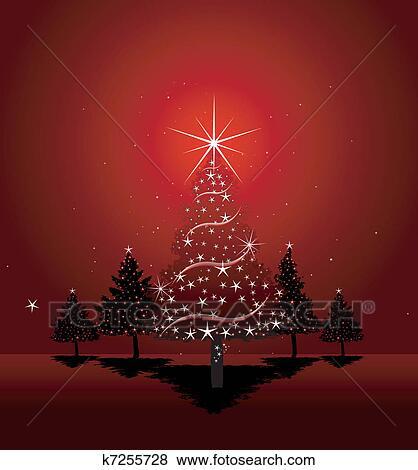 剪贴画 - 红, 圣诞树,