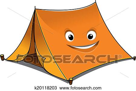 Clipart - Cheerful cartoon orange tent. Fotosearch - Search Clip Art Illustration Murals  sc 1 st  Fotosearch & Clipart of Cheerful cartoon orange tent k20118203 - Search Clip ...