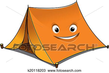 Clipart - Cheerful cartoon orange tent. Fotosearch - Search Clip Art Illustration Murals  sc 1 st  Fotosearch : cartoon tent images - memphite.com