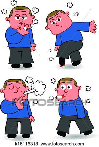剪贴画 - 抽烟, 人, 卡通漫画, 放置图片