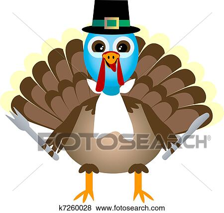 Clip Art of Thanksgiving Turkey Waiting for Thanksgiving