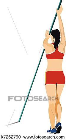 Clipart of Athlete pole vaulting. . Track and k7262790 - Search ...