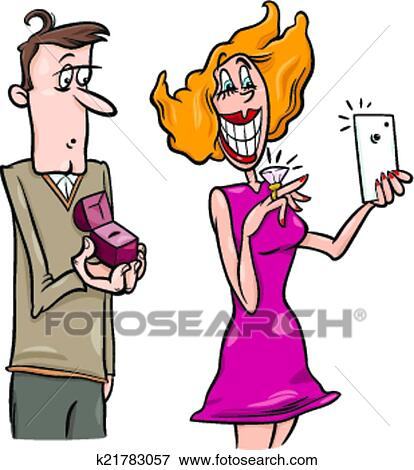 clip art of woman doing proposal selfie cartoon k21783057 search rh fotosearch com marriage proposal clipart business proposal clipart free