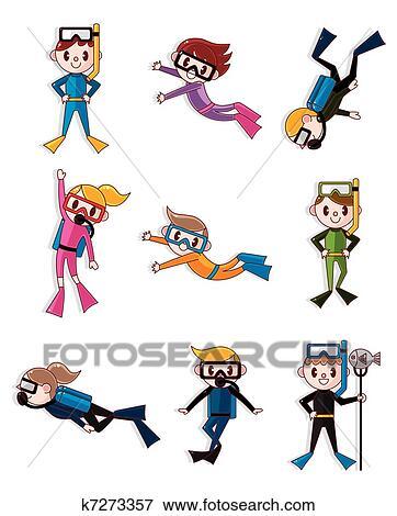 Clipart dessin anim plongeur icons k7273357 - Dessin plongeur ...
