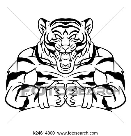 clipart of tiger strong mascot k24614800 search clip art rh fotosearch com clipart strong woman strong person clipart