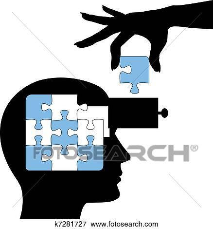 clip art of education person learn mind puzzle solution k7281727 rh fotosearch com minecraft clipart mine clip art
