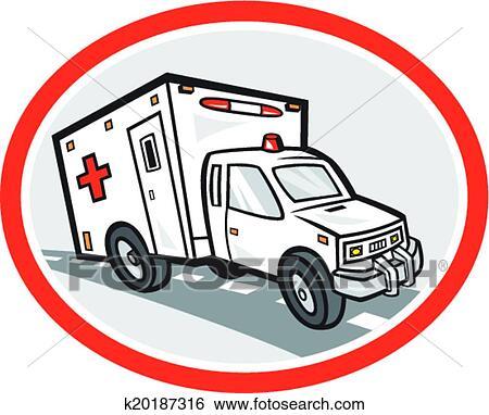 Clip Art - ambulancia, vehículo emergencia, caricatura k20187316 ...