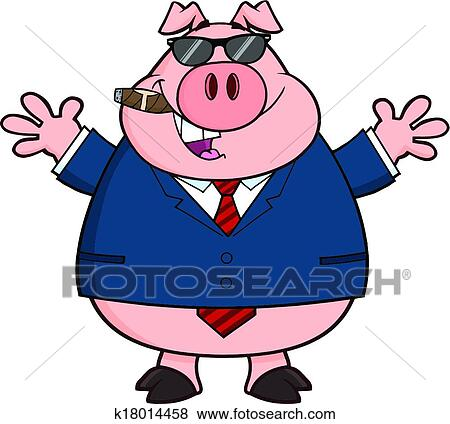 clip art of businessman pig with sunglasses k18014458 search rh fotosearch com businessman clipart png clipart worried businessman