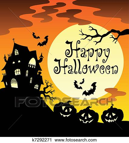 Clipart of Happy Halloween theme with Moon 1 k7292271 - Search ...