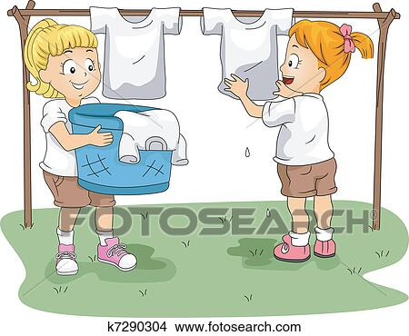Clipart Of Kids Hanging Clothes K7290304 Search Clip Art