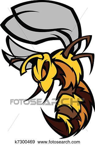 Clip Art of Bee Hornet Graphic Vector Illustrat k7300469 - Search ...