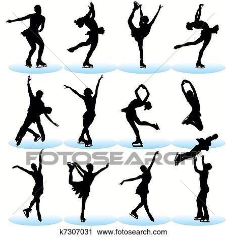 Figure Skate Drawing Figure Skating Silhouettes Set