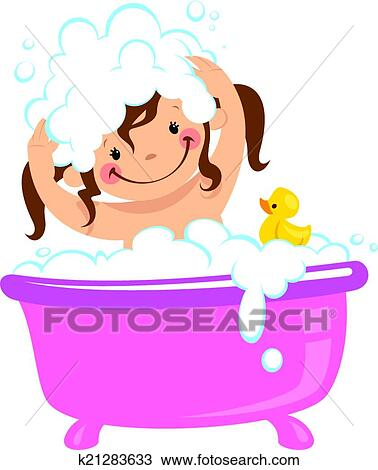 Clipart of baby kid girl bathing in bath tub and washing for Bathing images
