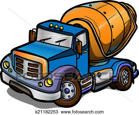 drawing of cartoon concrete mixer isolated k21182253 search rh fotosearch com concrete worker clipart clipart concrete truck