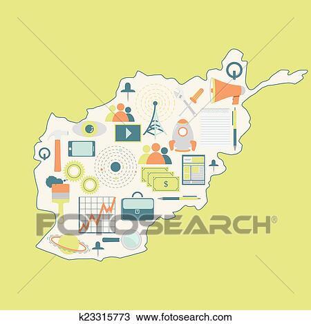 轮廓地图, 在中, 阿富汗