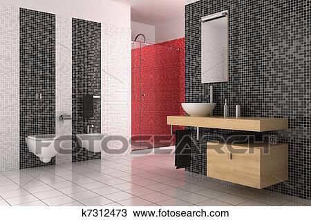Zeichnung - Modernes, Badezimmer, Mit, Schwarz, Rot Weiß ... Fliesenmuster Badezimmer