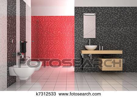 Dibujo moderno cuarto de ba o con negro rojo y for Cuarto negro y rojo