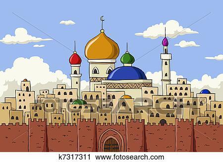 Clipart arabe ville k7317311 recherchez des clip arts des illustrations des dessins et for Dessin ville orientale