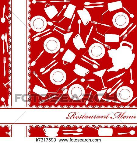手绘图 - 红, 餐馆菜单