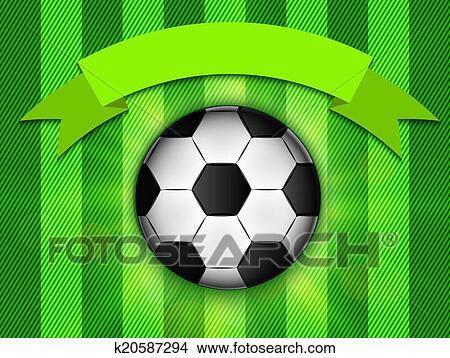 手绘图 - 足球, 在上, 绿色的背景, 海报, 设计, 带, 地方, 为, 正文.图片