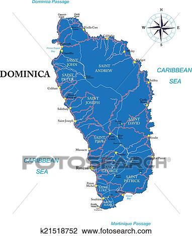 剪贴画 - 多米尼加, 地图图片