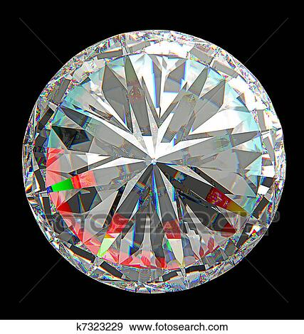 stock illustration of top view of large round diamond