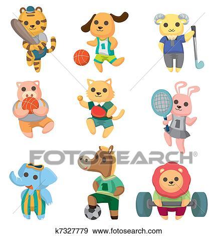 Clip art cartone animato sport animale giocatore - Animale cartone animato immagini gratis ...