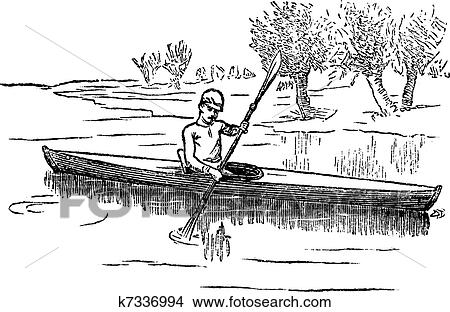 Clipart Of Canoe Or Canadian Vintage Engraving K7336994