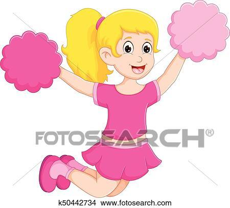 clipart of cute cheerleader cartoon fly with pom pom k50442734