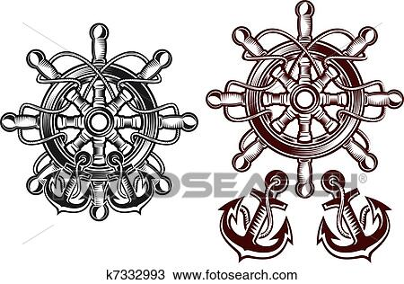 Anchor Wheel Drawing Clipart Ship Steering Wheel