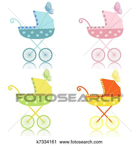 Clipart of strollers k7334161 - Search Clip Art, Illustration ...
