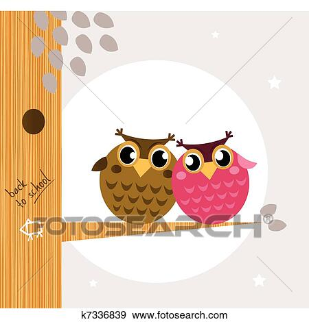 Two Owls On Branch Clip Art Clip Art of Two ...
