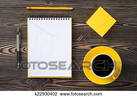 Stock Photo of office table top view k22930402 Search Stock