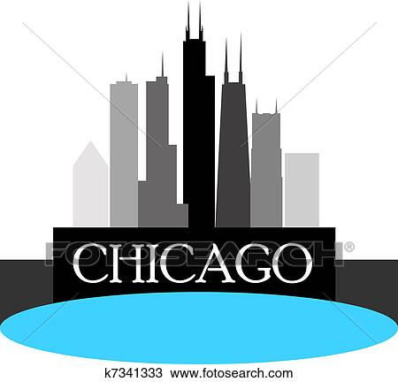 clipart of chicago skyline k7341333 search clip art illustration rh fotosearch com Chicago Clip Art chicago skyline clipart png