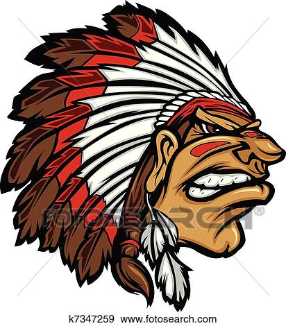 clip art of indian chief mascot head cartoon ve k7347259 search rh fotosearch com clip art indian princess clip art indianapolis 500