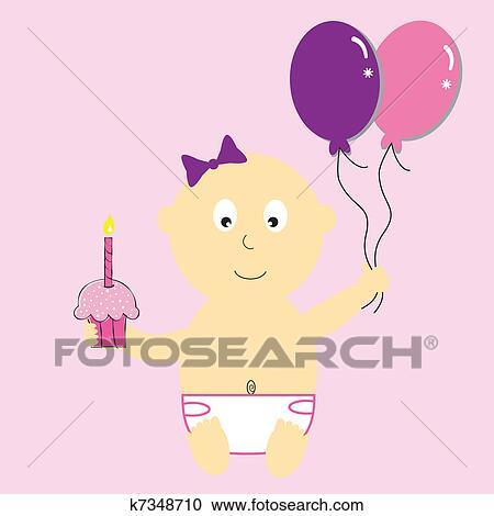 clipart b b fille premier anniversaire k7348710 recherchez des clip arts des. Black Bedroom Furniture Sets. Home Design Ideas