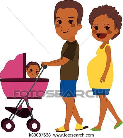 clip art of african american couple pushing stroller k30087638 rh fotosearch com african american baby clip art free african american baby clip art free
