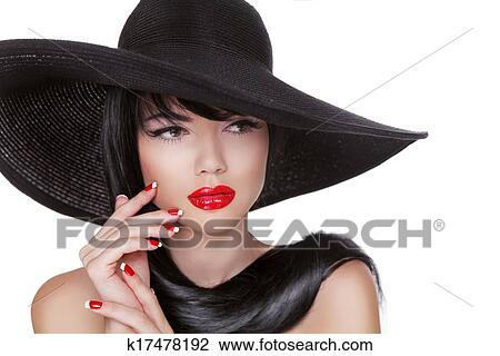 banque de photo charme mode brunette portrait femme dans chapeau noir isol blanc. Black Bedroom Furniture Sets. Home Design Ideas