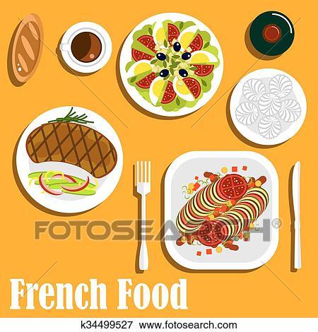 Clip Art - französische küche, hauptgericht, und, nachtische ...   {Französische küche clipart 10}