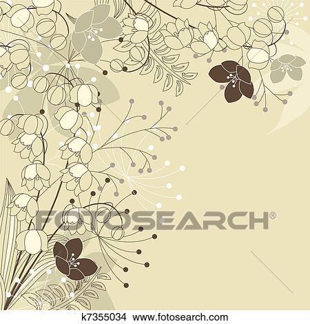 clipart licht beiger hintergrund mit maigl ckchen k7355034 suche clip art illustration. Black Bedroom Furniture Sets. Home Design Ideas