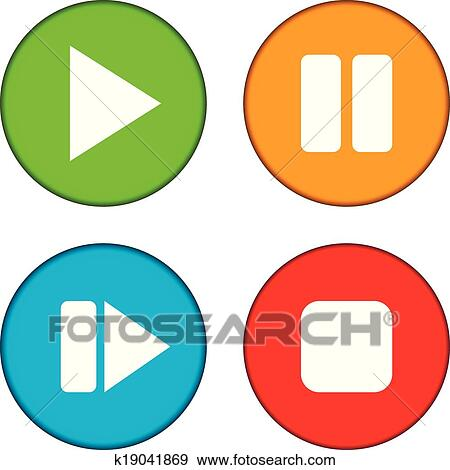 clip art of play pause stop forward buttons set k19041869 rh fotosearch com buttons clipart black and white clipart buttons website