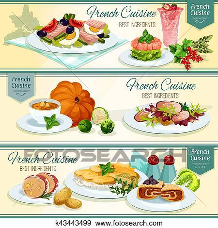 Clip Art - französische küche, populär, essen, spruchbaender ...   {Französische küche clipart 20}