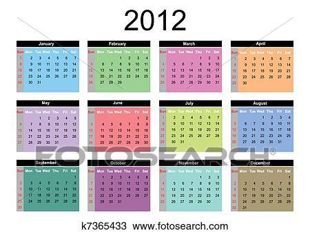 手绘图 - 日历, 为, 2012