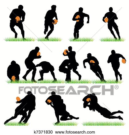 clipart of detailed rugby silhouettes set k7371830 search clip art rh fotosearch com rugby clipart free rugby clip art free