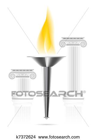Drawings of Olympic torch with flame k7372624 - Search Clip Art ...