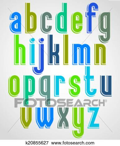 Clip Art of Colorful animated font, comic lower case letters with ...