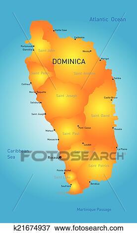 矢量, 颜色地图, 在中, 多米尼加, 国家图片