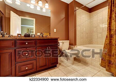 stock fotografie badezimmer in braun farbe mit beige fliese trimmen k22334900 suche. Black Bedroom Furniture Sets. Home Design Ideas